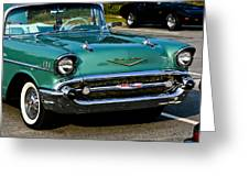 1957 Chevy Bel Air Green Front End Greeting Card