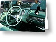 1957 Chevy Bel Air Green Interior Dash Greeting Card