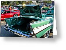 1957 Chevy Bel Air Green Rear Trunk Open Greeting Card
