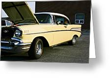 1957 Chevy Bel Air Yellow Down The Side Greeting Card