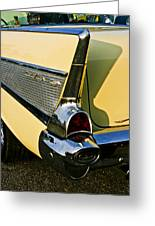 1957 Chevy Bel Air Yellow Fin And Tail Light Greeting Card