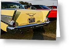 1957 Chevy Bel Air Yellow From Rear Quater Greeting Card