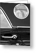 1957 Ford Thunderbird Window Black And White Greeting Card
