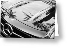 1957 Mercedes-benz 300sl Grille Emblem -0167bw Greeting Card