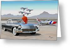 1957 Thunderbird  With F-84 Gunmetal Vintage Ford Classic Art Sketch Rendering           Greeting Card