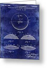 1958 Bowling Patent Drawing Blue Greeting Card