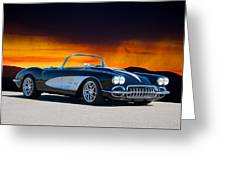1958 Corvette At Sunset Greeting Card