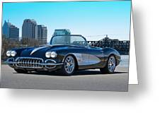 1958 Corvette With Skyline Greeting Card