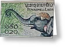 1958 Laos Elephant Stamp II Greeting Card
