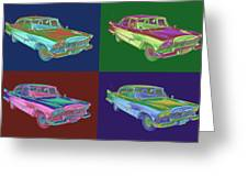 1958 Plymouth Savoy Classic Car Pop Art Greeting Card