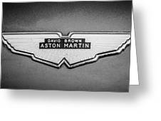 1959 Aston Martin Db4 Gt Hood Emblem -0127bw Greeting Card