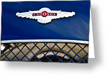 1959 Aston Martin Jaguar C-type Roadster Hood Emblem Greeting Card by Jill Reger