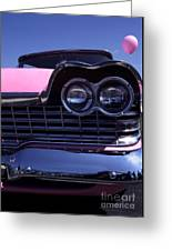 1959 Pink Plymouth Fury With Balloon Greeting Card