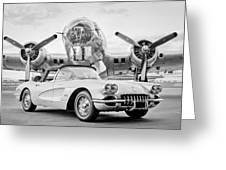 1960 Chevrolet Corvette - B-17 Bomber Greeting Card