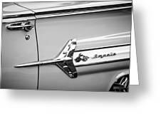 1960 Chevrolet Impala Emblem -340bw Greeting Card