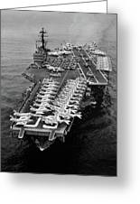 1960s Aerial Of Uss Saratoga Aircraft Greeting Card