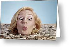 1960s Blond Woman Funny Facial Greeting Card
