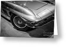 1960's Corvette C2 In Black And White Greeting Card by Paul Velgos