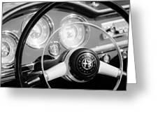 1961 Alfa Romeo Giulietta Spider Steering Wheel Emblem -1239bw Greeting Card