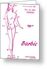 1961 Barbie Doll Patent Art 3 Greeting Card