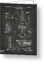 1961 Fender Guitar Patent Artwork - Gray Greeting Card