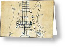1961 Fender Guitar Patent Minimal - Vintage Greeting Card by Nikki Marie Smith