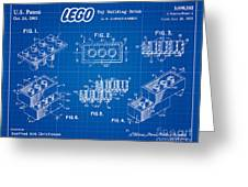 1961 Lego Building Blocks Patent Art 3 Greeting Card