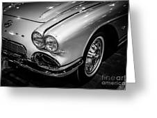 1962 Chevrolet Corvette Black And White Picture Greeting Card