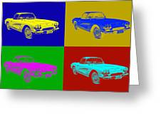 1962 Chevrolet Corvette Convertible Pop Art Greeting Card