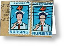 1962 Nursing Stamp Collage - Oakland Ca Postmark Greeting Card