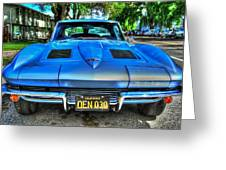 1963 Blue Corvette Stingray-front View Greeting Card