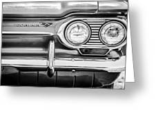 1963 Chevrolet Corvair Monza Spyder Headlight Emblem -0594bw Greeting Card