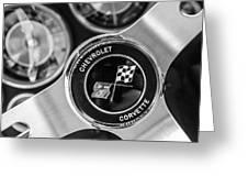 1963 Chevrolet Corvette Split Window Steering Wheel Emblem -170bw Greeting Card