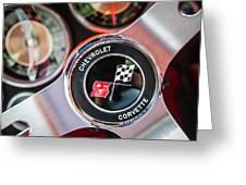 1963 Chevrolet Corvette Split Window Steering Wheel Emblem -170c Greeting Card