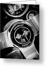 1963 Chevrolet Corvette Split Window Steering Wheel Emblem -309bw Greeting Card
