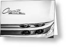 1963 Chevrolet Corvette Split Window Taillight Emblem -458bw Greeting Card