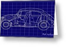 1963 Volkswagon Beetle Blueprint Greeting Card