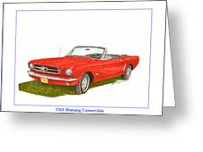 1965 Ford Mustang Convertible Pony Car Greeting Card