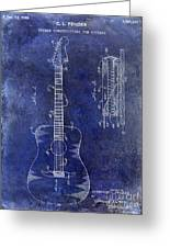 1966 Fender Acoustic Guitar Patent Drawing Blue Greeting Card