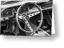 1966 Mustang Dashboard Bw Greeting Card
