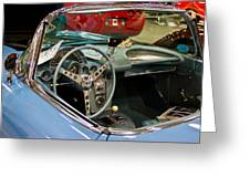 1967 Blue Corvette-interior And Wheel Greeting Card