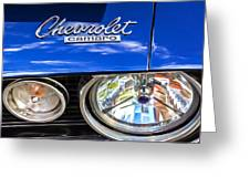 1967 Chevrolet Camaro Ss 350 Headlight - Hood Emblem  Greeting Card