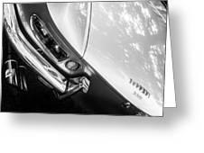 1967 Ferrari 330 Gts Taillight Emblem -0406bw Greeting Card