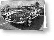 1967 Ford Shelby Mustang Gt500 Painted Bw Greeting Card