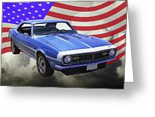 1968 Chevrolet Camaro 327 And United States Flag Greeting Card