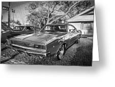 1968 Dodge Charger The Bullit Car Bw Greeting Card