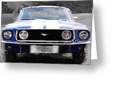 1968 Ford Mustang Front End Watercolor Greeting Card