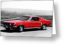 1968 Ford Mustang Watercolor Greeting Card
