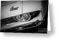 1969 Chevrolet Camaro In Black And White Greeting Card