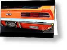 1969 Chevrolet Camaro Rs - Orange - Rear End - 7609 Greeting Card